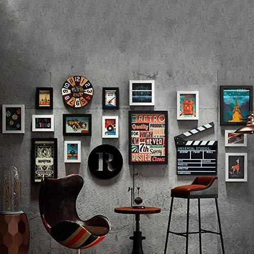 HEWEI 14 delige fotolijstset, Retro Filmstijl fotolijstje voor woonkamer, hal, bar, koffiehuis, KTV muurdecoratie, met vintage wandklok, 180x79 cm, WalnutandWhite