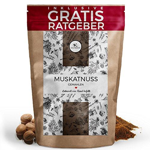 Muskatnüsse gemahlen 100g I Muskatnusspulver original aus Indonesien inkl. gratis Ratgeber I hochwertiges Gewürz in Premium Qualität Muskatgewürz
