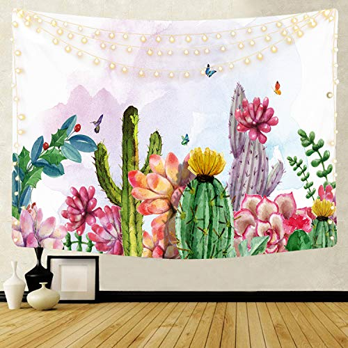 QCWN Watercolor Cactus Tapestry,Indian Bohemian Tropical Landscape Desert Succulent Plant Cactus Flowers Wall Hanging Tapestry for Bedroom Living Room Dorm.59x51Inch