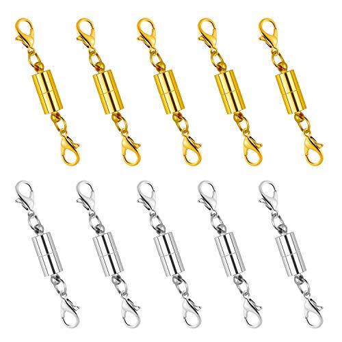 Dreamtop Extensor magnético de cierre de langosta para collar y pulsera (color dorado y plateado)