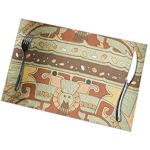 NotApplicable Place Mats Marrón Azteca Teotihuacan Vintage Verde Manteles Mayas De Pascua...