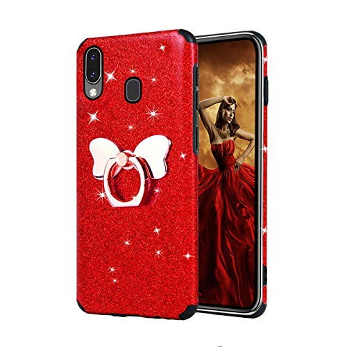 Misstars Glitzer Hülle für Galaxy M20 Rot, Bling Pailletten Weiche TPU Silikon Handyhülle Anti-Rutsch Kratzfest Schutzhülle mit Schmetterling Ring Ständer für Samsung Galaxy M20