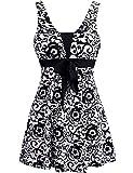 Wantdo Women's Swimsuit One Piece Cover Up Swimwear Cute Beachwear Plus Size Black Porcelain US 16-18