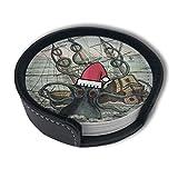 OUYouDeFangA Océano Octopus Náutico Barco Navidad Posavasos con juego de soporte, tazas redondas y tazas Mat Pad para bebidas, apto para el hogar y la cocina (6 piezas)