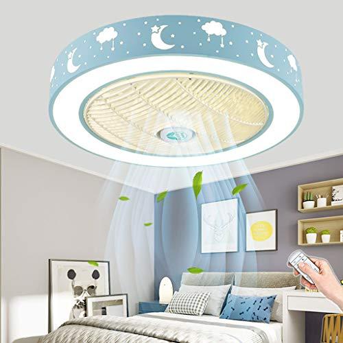 Ventilador De Techo LED Con Iluminación Regulable Ventilador De Control Remoto Lámpara De Techo 80W Fan Moderno Luz De Techo Dormitorio Sala De Estar Habitación Para Niños Lámparas De Araña (Blue/A)