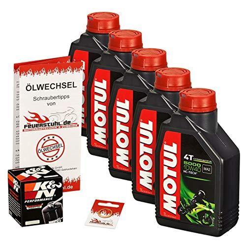 Motul 10W-40 Öl + K&N Ölfilter für Yamaha MT-01 /SP, 05-12, RP12 RP18 - Ölwechselset inkl. Motoröl, Filter, Dichtring