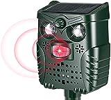 Homtiky - Repelente ultrasónico para ahuyentadores de gatos, con alarma animal, apto para animales, gatos, perros, ratas, pájaros y zorros, repelente ultrasónico de energía solar IP66, impermeable