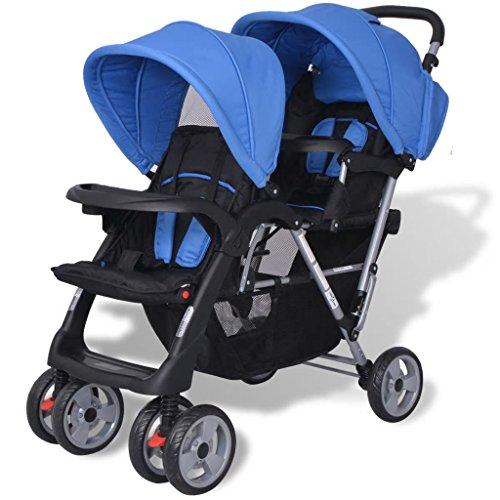 yorten Geschwister Zwillings Kinderwagen aus Stahl und Oxfordgewebe mit Regenschutzhaube für Babys und Kleinkinder Blau und Schwarz 118 x 41 x 108 cm