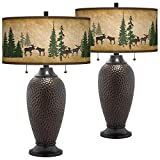Moose Lodge Zoey Hammered Oil-Rubbed Bronze Table Lamps Set of 2 - Giclee Glow