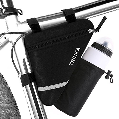 Wommty Bike Triangle Cycling Bicycle Front Tube Frame Pouch Saddle Bag With Reflective Stripe - Cycling Bike Front Pack With Water Bottle Pocket