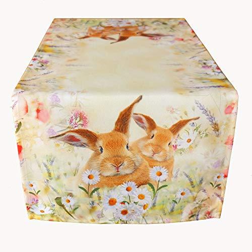 Raebel Tischdecke - hellgelb-bunt Stickerei Druck Hasen auf Frühlingswiese Ostern (85 x 85 cm)