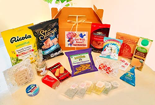 Get Well Gift Basket - SUPER HEALTH PACK! Organic Herb Teas, Chicken Soup, Oatmeal, Cookies, Chocolate Truffles & More!! (Large)