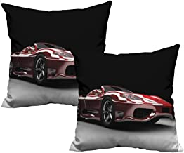Plush Pillowcase Cars,Automotive Industry Theme Powerful Engine Fast Technology Prestige Performance,Red Black White 20