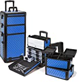 Seya Professional 3 in 1 Rolling Makeup Case (Blue Diamond)