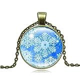 Y-XM Piedras Preciosas de Cristal de Navidad Vintage Collar Copo de Nieve patrón suéter Adorno A Juego de 2