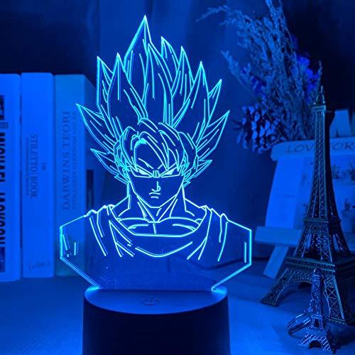Luz de Noche 3D Anime Ilusión Lámparas de decoración LED 3D Lámpara de Regalo para Luz de Dormitorio Sensor táctil LED Lámpara de EscritorioDragon Ball Goku