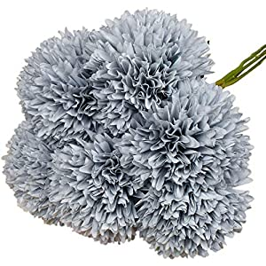 Lacheln Artificial Dahlia Silk Flowers Ball Shaped with Long Stem Pack of 12 for Wedding Party Home Floral Decor (Dusty Blue)