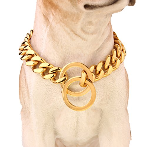 "FANS JEWELRY Dogs Plated Gold Stainless Steel Curb Cuban Link Chain Necklace 12""-36"" (24"")"