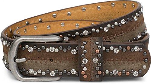 styleBREAKER cinturón de remaches «vintage» con estrás en diseño de dos tonos y costura ornamental, cinturón brillante, bicolor, señora 03010068