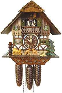 River City Clocks Eight Musical Cuckoo Clock Cottage with Jumping Deer and Moving Waterwheel