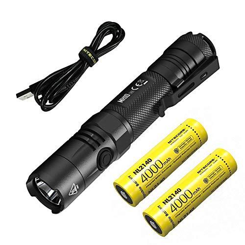 Combo: Nitecore MH10 V2 Type-C Rechargeable Flashlight 1200 Lumens w/2x 2140 batteries & Free Eco-Sensa USB Cable
