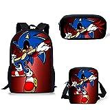 XINBANG Juguetes sónicos 3pcs/Lote Sonic The Hedgehog Print School Backpack For Girls Boys 3pcs/Set School Bags Kids Schoolbag Back Packs Kids Book Bag