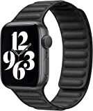Fengyiyuda Correa Compatible con Apple Watch Correa 38mm 40mm 42mm 44mm,Correa Ajustable Correa de eslabones de Piel Fuerte magnético Compatible con iWatch Series SE/6/5/4/3/2/1(42/44mm Negro)