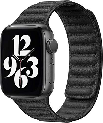 Fengyiyuda Kompatibel mit Apple Watch Armband 38mm 40mm 42mm 44mm,stark magnetisch verstellbarem Lederarmband mit flexibel geformten Magneten für die iWatch Serie SE/6/5/4/3/2/1(42/44mm Schwarz)