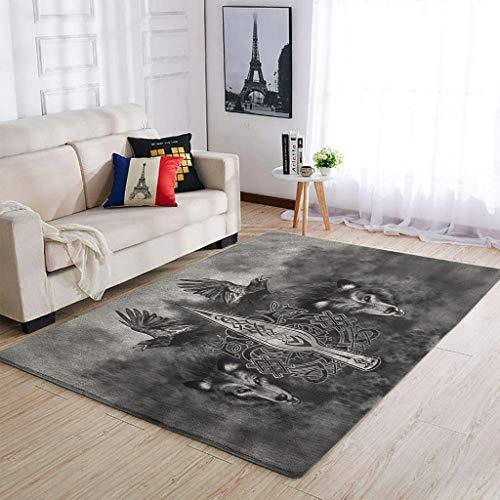 Bannihorse Alfombra lavable Viking Wolf Odin para interior moderna, para dormitorio o salón, color blanco, 50 x 80 cm