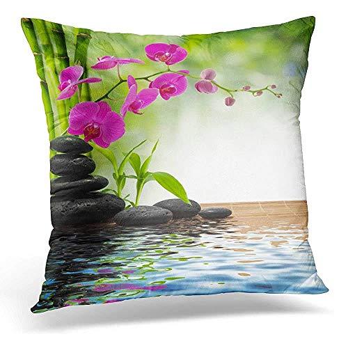 Chipo - Funda de almohada para cojín (bambú, color morado, orquídea, piedras negras), color verde