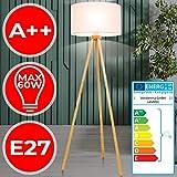 Dreibein Stehlampe - EEK A++ bis E, Stoffschirm, Stativ aus Holz, 145cm hoch, Ø45cm, E27 LED - Tripod Standleuchte, skandinavisch Wohnzimmerlampe, Stehleuchte für Schlafzimmer, Wohnzimmer
