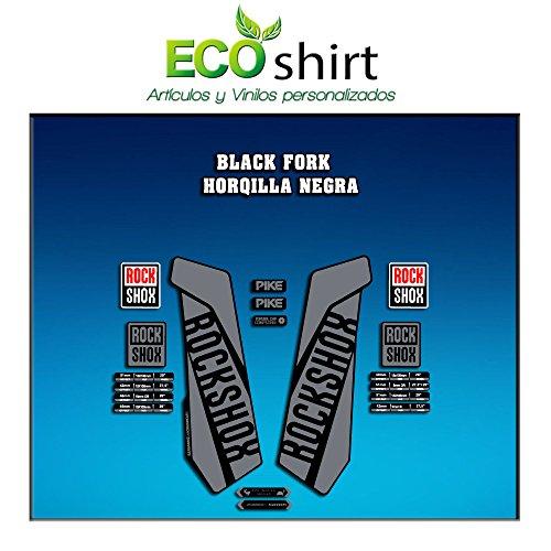 Ecoshirt 3U-T041-1MTR Aufkleber Gabel Rock Shox Pike 2016 Am108 Fork Sticker Decals Aufkleber Gabel grau