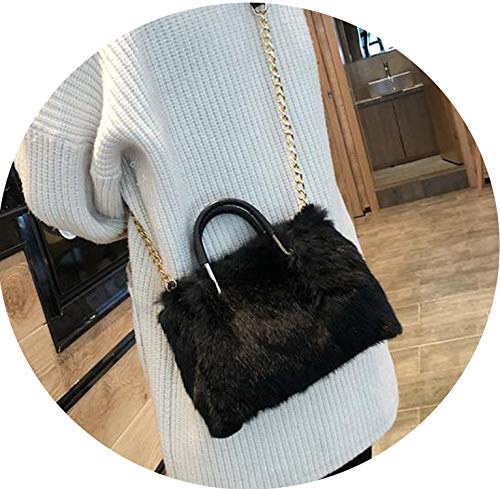 Fur women Messenger Bags Fashion Evening Bag ladies Clutch Bags Party Purse handbags winter elegant shoulder Bag,Black