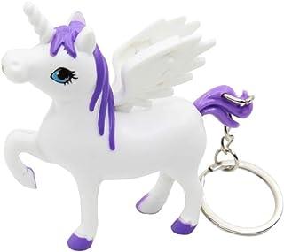 STOBOK LED Light Up Unicorn Keychain with Sound Car Key Ring Bag Decoration Accessory Gift for Girls Women(Purple)
