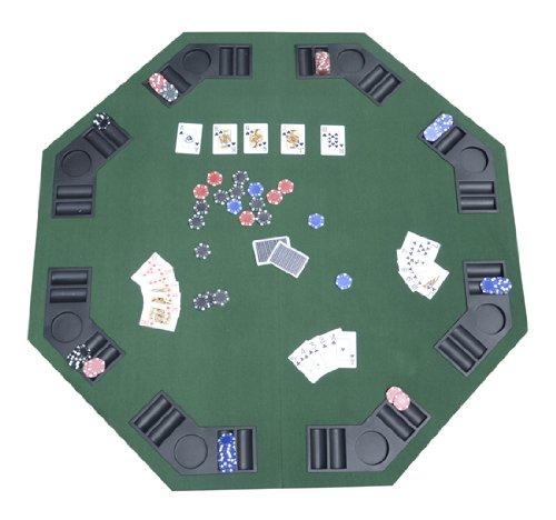 HOMCOM–1.2M/48Pulgadas Plegable Mesa de póquer Top 8Jugadores Blackjack Cuadros Casino Chip bandejas