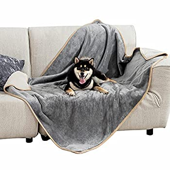 Bedsure Waterproof Dog Blanket for Large Dogs - Sherpa Fleece Pet Puppy Blanket for Couch and Sofas Beds Soft Plush Reversible Dog Throw Protector Cat Blankets Machine Washable 40 X50