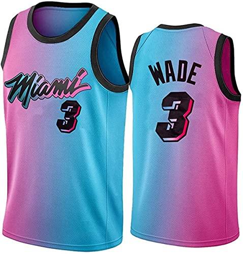 SHR-GCHAO 2021 Men's Jerseys, Miami Heat # 3 Dwyane Tyrone Wade NBA Basketball Jerseys, Ocio Camisa De Chaleco Deportivo Sin Mangas De Malla Suave,Blue Pink,XL(180~185cm)