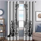 Toopeek - Cortina de cortina con aislamiento victoriano, marco victoriano con un gladiador guerrero romano diseño antiguo para sala de estar o dormitorio (52 x 200 cm), color blanco y negro