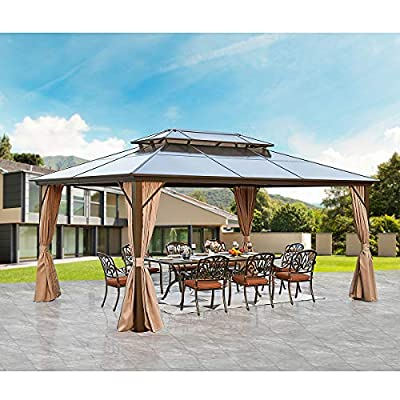 YOLENY 12'x16' Outdoor Polycarbonate Double Roof Hardtop Gazebo Canopy Curtains Aluminum Frame with Netting for Garden,Patio