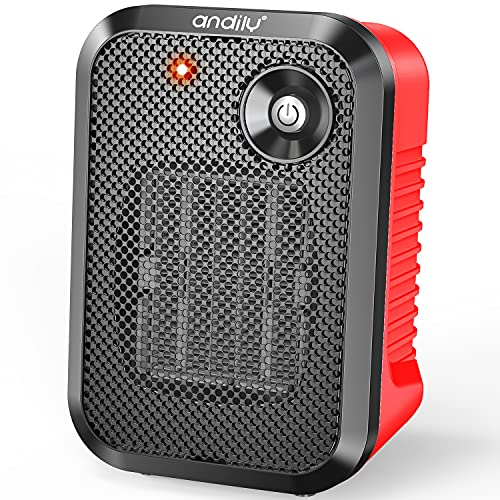 andily 500W Space Electric Small Heater for Home&Office Indoor Use on Desk with Safety Power Switch PTC RED