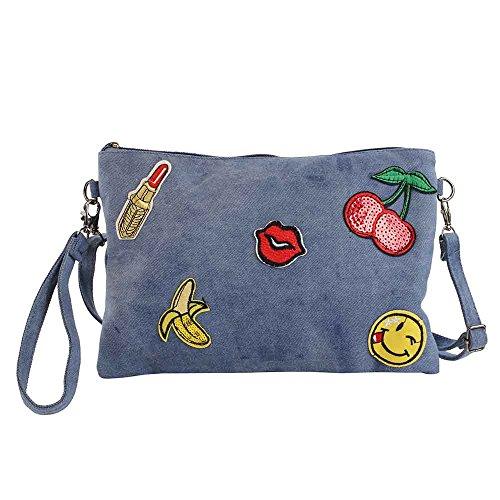 For Time jean con emojis, Bolso bandolera mujer Emoji, Multicolor, 29x20x1 cm