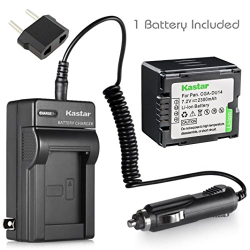 Kastar Battery and Charger for Panasonic VDR-D230 VDR-D250 VDR-D300 VDR-D310 VDR-M30 VDR-M50 VDR-M53 VDR-M70 VDR-M95 VDR-M250 Camcorder and CGA-DU06 CGA-DU07 CGA-DU14 CGA-DU21 Battery