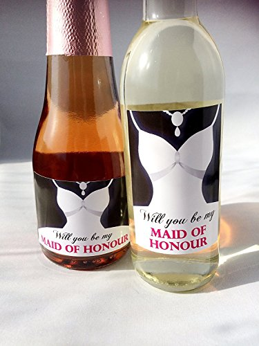 Word jij mijn bruidsmeisje Mini Labels voor Mini Wine & Mini Champagne/Prosecco Flessen.