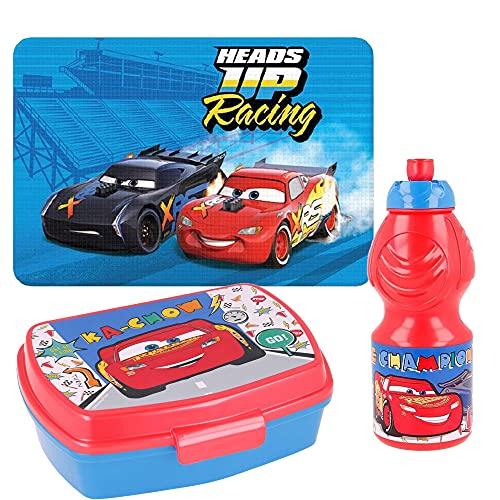 BBS Porta MERENDA + Borraccia 350 ML +TOVAGLIETTA + Cars Disney
