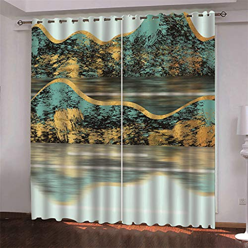 MMHJS European Thick Polyester Curtain 3D Hotel Bedroom Living Room Sanitary Partition Curtain Sunshade Household Items 2 Pieces