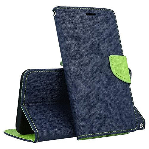 (universell) kompatibel mit ASUS ZENFONE GO (ZB552KL) 5.5 Hülle Cover Hülle Flip Book (blau/grün) Soft Silikon TPU Brieftasche