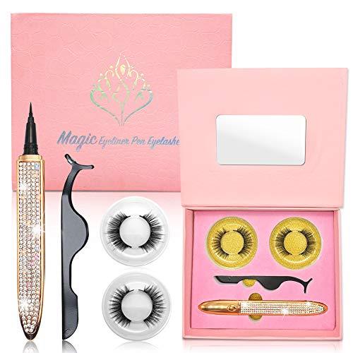 Magnetic Eyelashes with Magnetic Eyeliner Kit, 2 Styles False Lashes Natural Look, Black Waterproof Magnetic Eyeliners, With Mirror and Tweezer