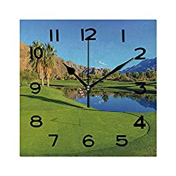 ALUONI Print Square Wall Clock, 8 Inch Golf Course in Palm Springs Quiet Desk Clock for Home,Office,School No056864