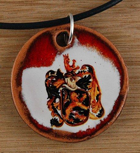 Echtes Kunsthandwerk: Hübscher Keramik Anhänger mit dem Sternzeichen Löwe; Sternbild, Tierkreiszeichen, Astrologie