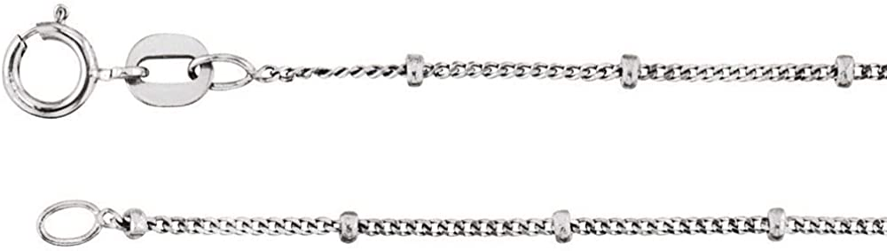 14k White Gold 1mm Regular store Solid 40% OFF Cheap Sale Beaded Curb Chain Necklace 18